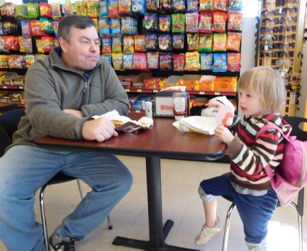 This is a special day tradition with each child: snack at the gas station with Daddy.